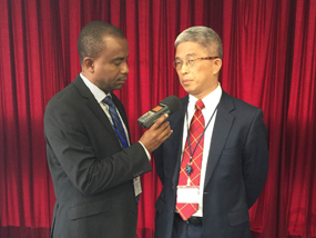 Mr. Rothschild Francois Jr., founder of RFM Radio in Haiti interviews with  TFD President Szu-chien Hsu