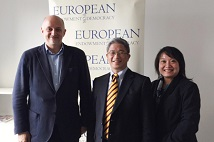 TFD President Hsu Szu-chien and TFD Vice President Ketty W. Chen met with European Endowment for Democracy Executive Director Jerzy Pomianowski in Brussels