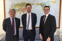 The British Office and Foreign and Commonwealth Office visit the TFD - Mark Fletcher (right), Head of the Political Section at the British Office, and Jerome Cook (middle), Deputy Team Leader of the China External and Taiwan Team at the FCO, were welcomed by TFD President Hsu Szu-chien (left) on March 16.
